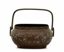 19C Chinese Bronze Hand Warmer Bowl Basket