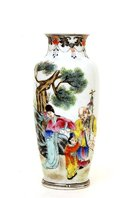 Old Chinese Famille Rose Vase w Figurine Sage