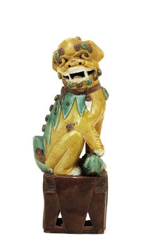 Lg Old Chinese Export Sancai Mudman Fu Foo Dog Lion