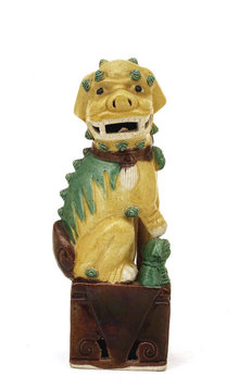 Old Chinese Export Sancai Mudman Fu Foo Dog Lion