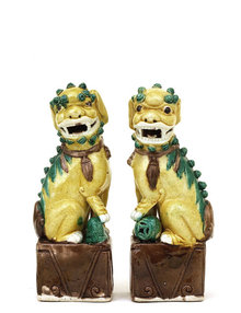 2 Old Chinese Export Sancai Mudman Foo Fu Dog Lion