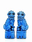 2 Old Chinese Export Turquoise Foo Fu Dog Lion Figurine