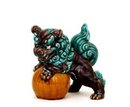 Japanese Kutani Green Purple Fu Foo Dog Lion Shishi