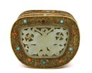 Old Chinese Jade Plaque Turquoise Bead Brass Box
