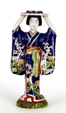 Lg Old Japanese Kutani Cobalt Kimono Geisha Figurine