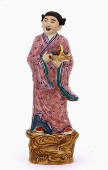 Old Chinese Famille Rose 8 Immortal God Figurine Mk