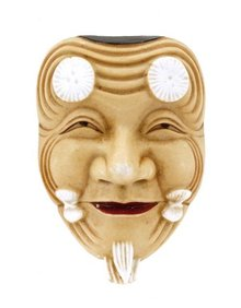 Old Japanese Toshikane Noh Mask Brooch Pin Mk
