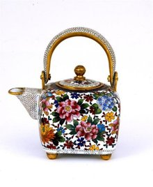 Old Japanese Cloisonne Mille Flure Teapot Winepot
