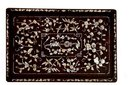 Old Chinese Mother of Pearl Inlay Hard Wood Tray