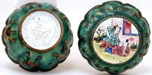 19C Chinese Export Enamel Cloisonne Box Figure