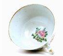 19C Chinese Export Celadon Rose Medallion Cup & Saucer