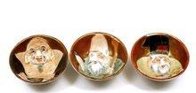 3 Japanese Kutani Sake Saki Tea Cup Moriage Lucky God  Figure