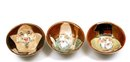 3 Japanese Kutani Sake Saki Tea Cup Moriage Lucky God  Figure