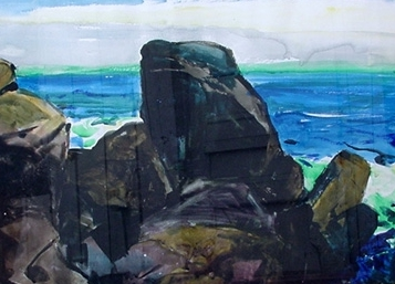 John O'Shea Carmel Beach Watercolor John O'Shea