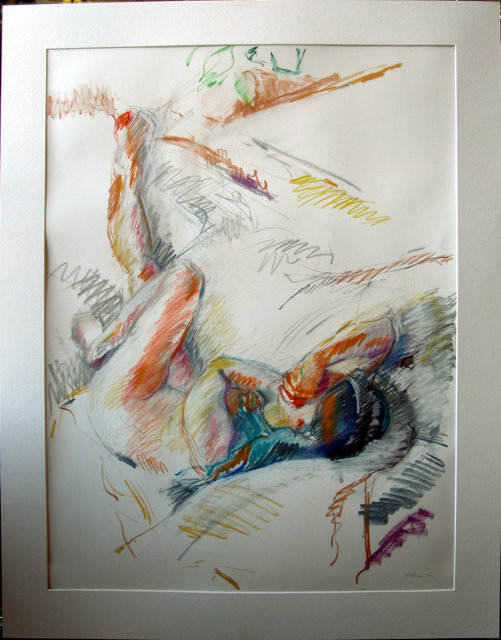 Stewart Goldman 1982 reclining nude Pastel
