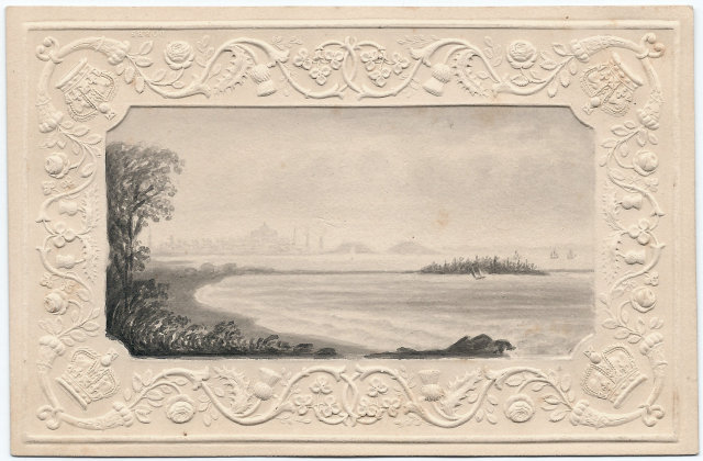Eliza Susan Quincy 1821 Grisaille Watercolor of Boston And Quincy