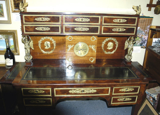 Bureau a Gradin  Writing Desk with Bronze Signed B. Andrieu