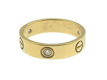 CARTIER 18K GOLD & DIAMOND LOVE RING w/BOX