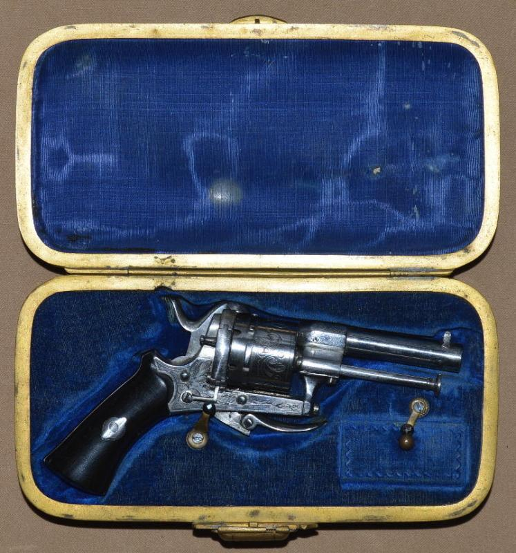 Cased French Lady's Miniature Pinfire Revolver, ca. 1880