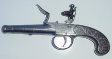 English Silver Inlaid Flintlock Pistol, ca, 1775