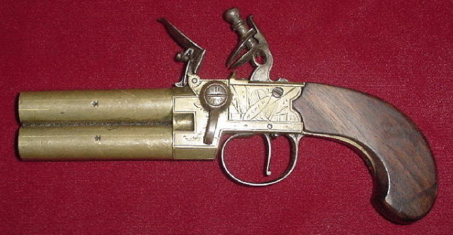 Brass Flintlock Over and Under Tap Action Pistol by Henry Nock, ca. 1800