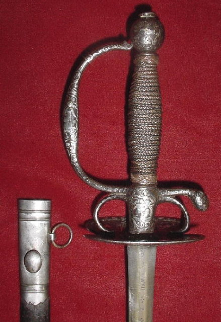 Chiseled and Silver Inlaid Smallsword, Probably French, ca. 1700