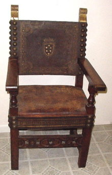 Italian Walnut and Leather Arm Chair, Medici 17th C