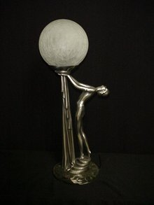 Art Deco Lamp/Drapery Girl