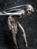 D.H. Chiparus Art Deco Bronze Hoop Girl Figurine in Silver Patina