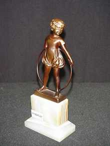 Hoop Girl Figurine in Bronze Patina