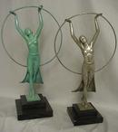 Classic Art Deco Bronze Figurine Silver Patina