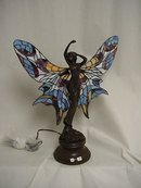 Bronze Tiffany Style Lamp/Girl With Wings