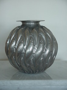 ANTIQUE SILVER PATINA BRONZE FISH VASE