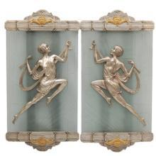 Art Deco Acid Etched Glass & Brass Lady Sconces by Gory