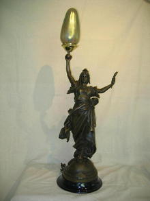 ART NEAUVEAU LADY AS NEWEL POST LAMP