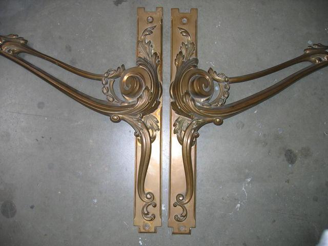 LARGE PAIR OF FRENCH BRONZE FRONT DOOR HANDLES