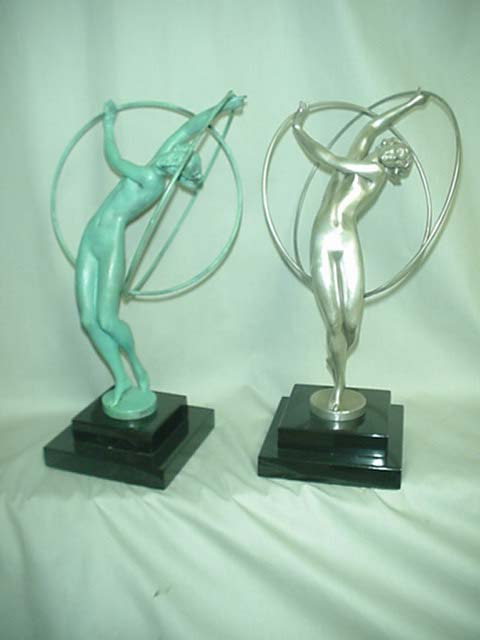 Art Deco Bronze Figurine with Silver Patina