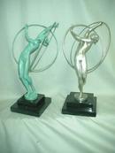 Art Deco Bronze Figurine with Silver Patina