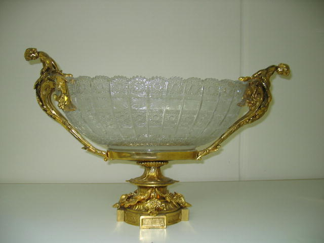 DORE BRONZE & CRYSTAL  CENTER PIECE BOWL
