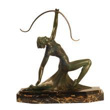 Antique Art Deco Sculpture of Diana the Archer by G. Daverny