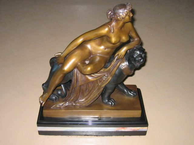 Classic Bronze of Nude Maiden ATop Black