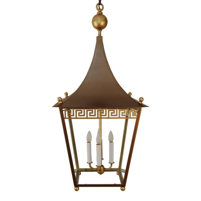 Greek Key Pagoda Top Brass Lantern Chandelier