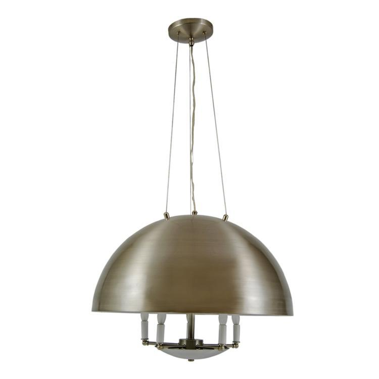 Modern Custom Spun Aluminum Dome Chandelier with Brushed Nickel Finish