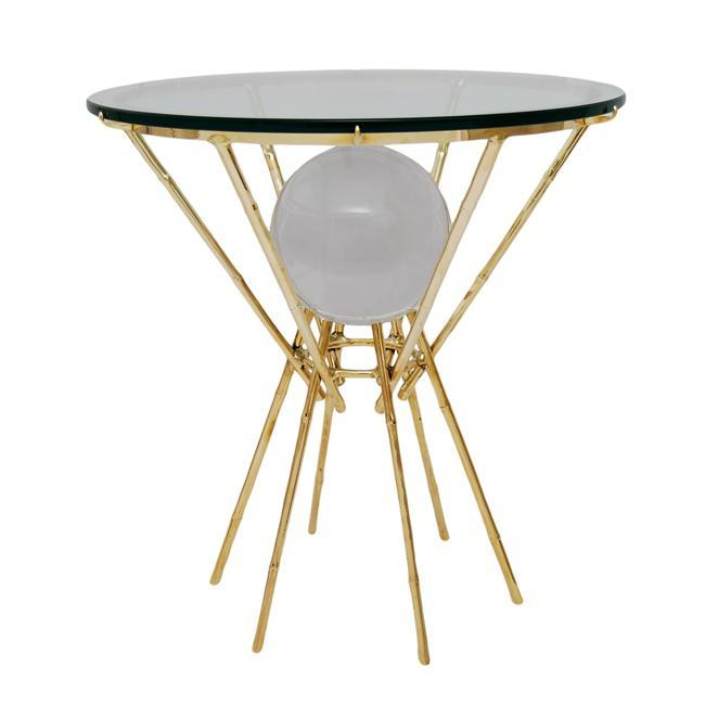 Maison Bagues Style Faux Bamboo Brass Gueridon Table