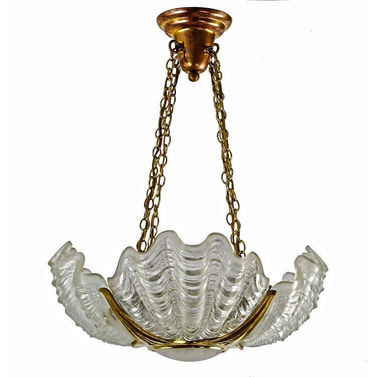 Four-Shade Art Deco Clamshell Chandelier with Cast Brass Frame