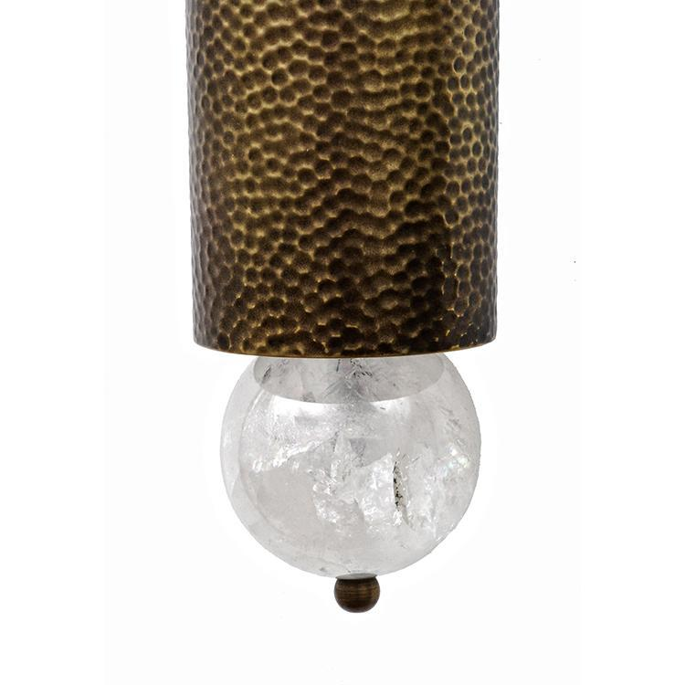 Modern Hammered Copper & Brass Sconce with Rock Crystal Ball