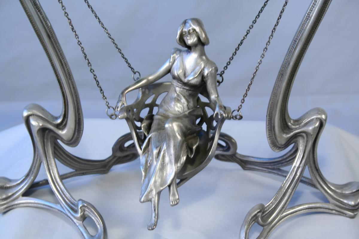 Art Nouveau Bronze Swing Lady Figurine Mirror with Silver Finish