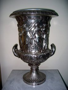 Neo Classical Urn Bronze Silvered & Antiqued