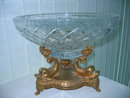 Triple Dolphin Bronze Center Piece Lead Crystal Bowl
