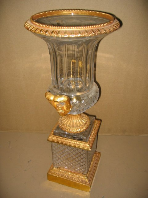 Dore Bronze & Crystal Glass Urns